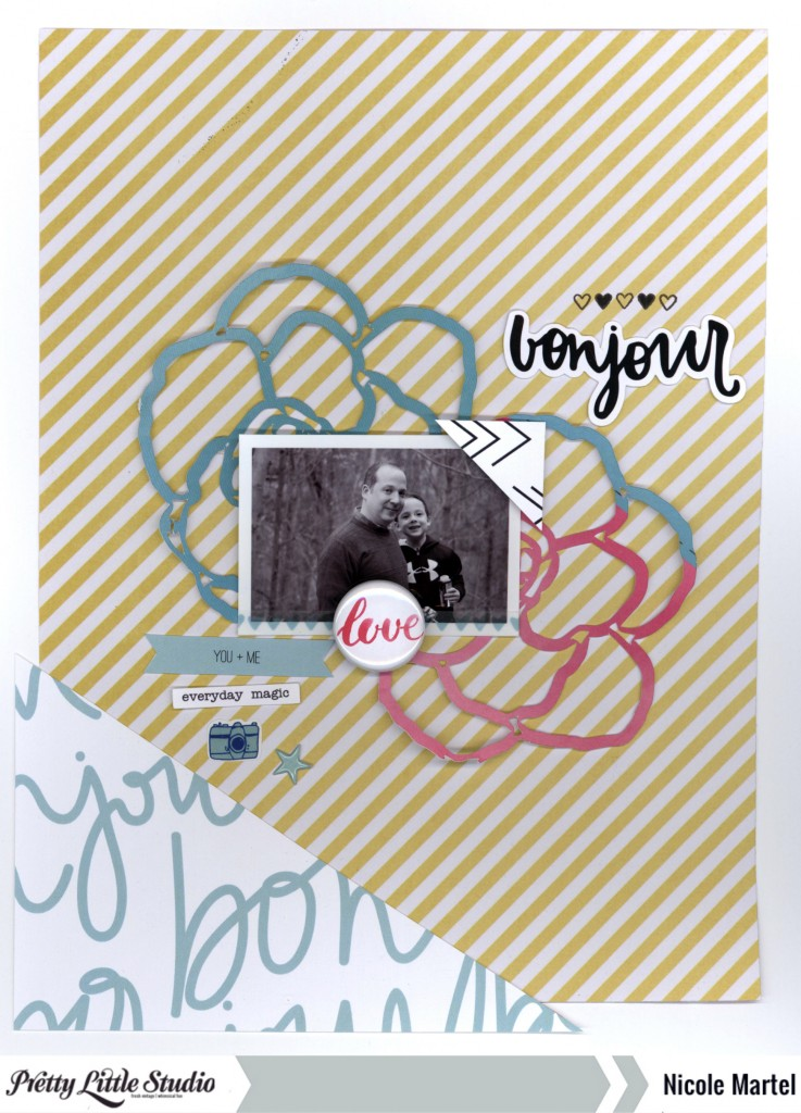 Bonjour_Pretty Little Studio_Nicole Martel_layout_Clique Kits_Pinkfresh Studio 001